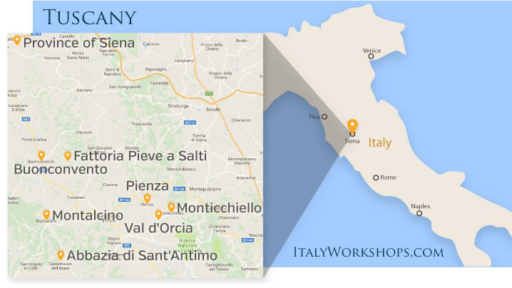Intimate Tuscany Photo Tours and Workshop Itinerary Map