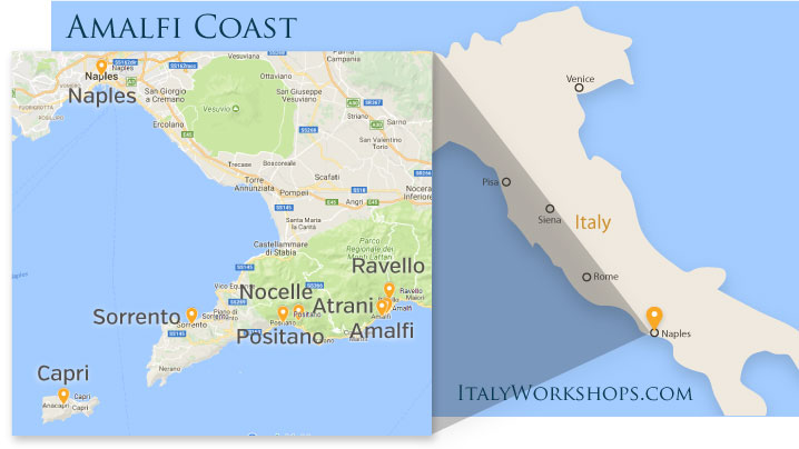 amalfi coast photo tour itinerary map