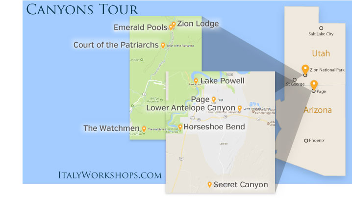 canyons photo tour itinerary map