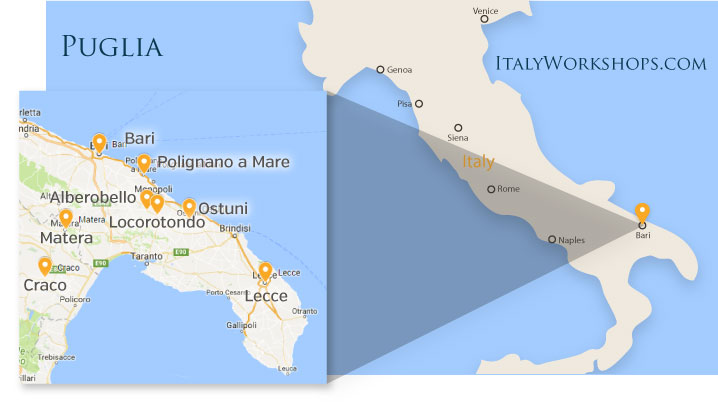 Puglia Italy Photo Tour Itinerary Map